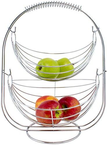 Brubaker Designer Schaukel Obstkorb Obstschale Früchtekorb Etagere aus Silber verchromten Metall ca. 45 cm hoch