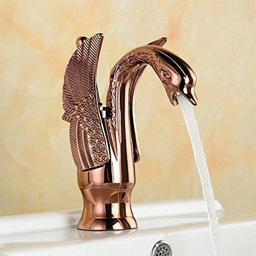 homjo Luxus Kupfer heißen und kalten Wasserhahn Swan Wasserhahn vergoldet Gold Waschbecken Wasserhahn Mischarmaturen, picture color, 4 (Waschbecken Wasserhahn Motion)