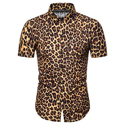 Proumy 2019 Neu Sommer Herren Slim Fit Hemd Mode Leopard Drucken Hemden Atmungsaktiv Revers Kurzarmhemd Freizeit Einreihig Taste Hemd (L, Yellow) -