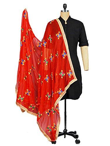 Weavers Villa® Punjabi Hand Embroidery Phulkari Buty Work Faux Chiffon Red Dupatta,...