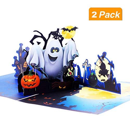 BangShou 3D-Halloween-Pop-Up-Grußkarte, Ghost Kürbis-Muster, handgefertigt, Geschenk für Kinder, Halloween, Mottoparty
