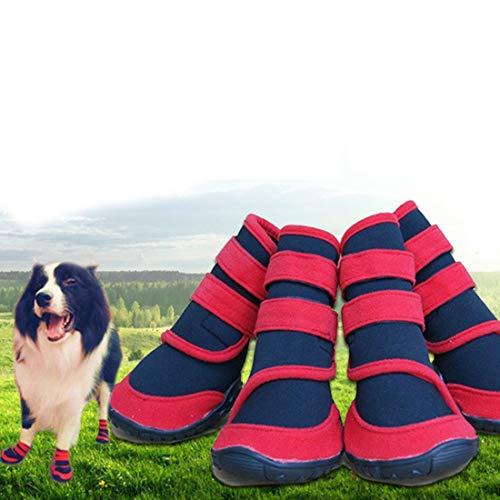 VICTORIE Zapatos Perro Botas Impermeable Antideslizante Invierno Otoño Nieve para Mediano y Grandes Perros Negro 4 Pedazo(M: 85 * 66mm)