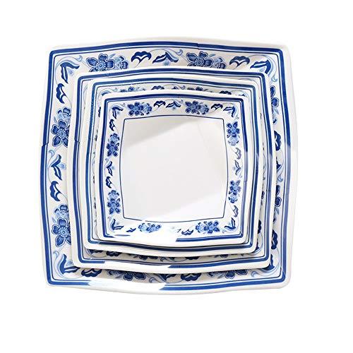 Fyh shop servizi di piatti piatto da portata, piattoquadrato inporcellanamelamminica blu e bianca, 10 pollici