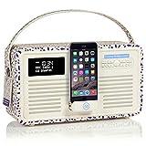 VQ Retro Mk II DAB/DAB+ Digital- und FM-Radio mit Bluetooth, Apple Lightning Dock und Weckfunktion - Emma Bridgewater Blaues Gänseblümchen