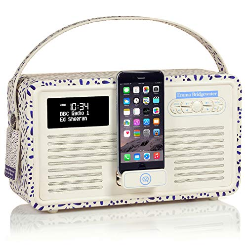 VQ Retro Mk II DAB/DAB+ Digital- und FM-Radio mit Bluetooth, Lightning Dock und Weckfunktion - Emma Bridgewater Blue Daisy Fm-transmitter Charge Dock