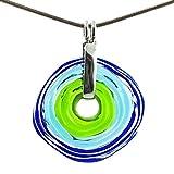 Collar en azul verde con colgante de cristal de murano | Joya intercambiable | Pieza único hecho a mano | Regalo para Aniversario y Boda | Regalo de cumpleaños | Regalo personalizado para navidad.