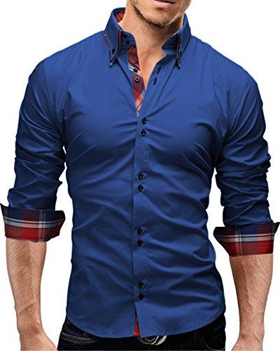 Merish Hemd Herren Kariert Kontrast Business Freizeit Karo 6 Farben Shirt Langarmhemd 207 Newblue L