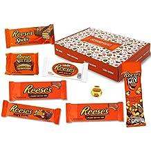 Reeses - Sweet Box - Cesta de regalo | 8 dulces estadounidenses diferentes | Tazas de mantequilla de maní en leche entera y chocolate blanco | USA Reese ...