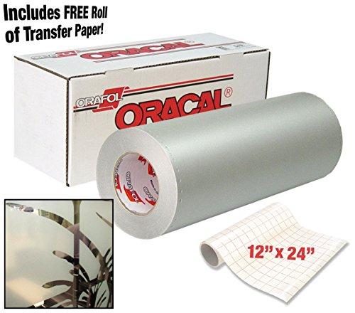 Klebefolien 8710gefrostetem weiß transluzent Glas geätzt 30,5x 61cm Fenster vinyl Rolle für Cricut, Silhouette & Cameo inkl. 30,5x 61cm Rolle von vvivid klar Transfer Papier 2 Roll Pack -