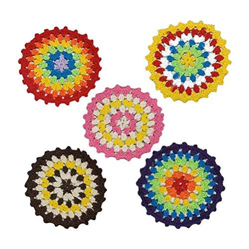 10 STÜCKE häkeln bunte untersetzer teetasse mat baumwolle untersetzer kreative handwerk untersetzer dekorative (zufällige farbe) (Color : -, Size : -)