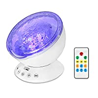 Semlos Remote Control Ocean Wave Projector Night Light with Built-in TF Card Slot Music Player and Timing Close Function for Kid's Bedroom Bathroom Living Room from Semlos