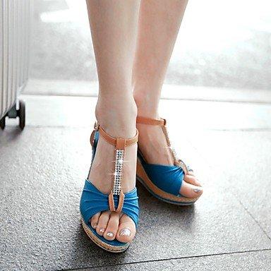 LvYuan Damen-Sandalen-Kleid-PU-Keilabsatz-Andere-Blau Mandelfarben Dunkelgrün Blue