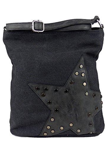 yourlifeyourstyle Canvas Tasche aufgenähter Stern mit Nieten - Damen Mädchen Teenager Umhängetasche - Maße ohne Schulterriemen 27 x 30 cm (schwarz)
