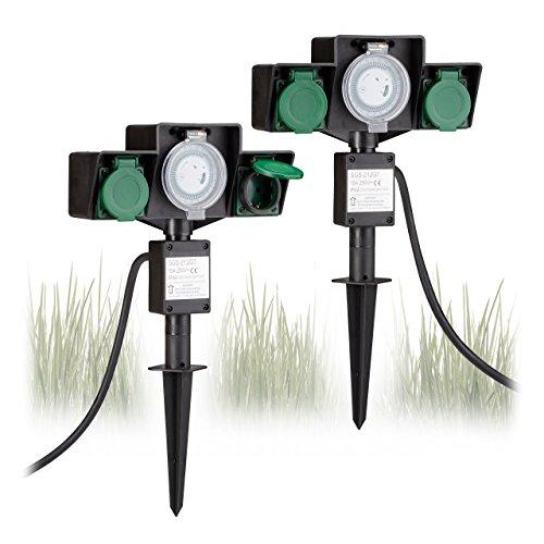 2x Gartensteckdose mit Zeitschaltuhr, Außensteckdose 2-fach, Erdspieß, HxBxT: ca. 40 x 23 x 7,5 cm, Kabellänge ca. 1,4 m
