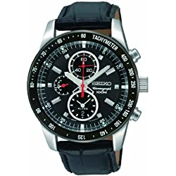 Seiko Men's SNAE35 Chronograph Black Dial Leather Strap Watch