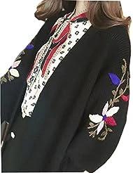 LQABW Automne Et Hiver Femme Broderie De Grande Taille Cardigan Casaque Thicker