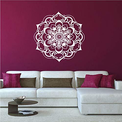 xmydeshoop Wandaufkleber Hintergrund Mandala Blume PVC Fenster Aufkleber Shop Home Decor Wohnzimmer Schlafzimmer Aufkleber 57 cm X 57 cm