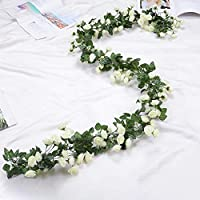 HASTHIP 1 Pack 70inch Artificial Flower Hanging Rose Flower Ivy Garland Artificial Rose Garland Home Party Garden 69 Small Rose Flowers (White)