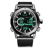 Menton Ezil Digital Herrenuhr mit schwarz Lederband Multifunktionen Alarmuhr Lederarmbanduhr 50M Wasserdicht EL-Hintergrundbeleuchtung Zwei Uhrzeitangaben Geschenk für Männer