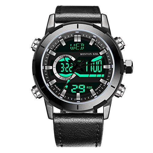 Menton Ezil Digital Herrenuhr mit schwarz Lederband Multifunktionen Alarmuhr Lederarmbanduhr 50M...
