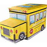 Maison & Cuisine Storage Box PORTABLE & FOLDABLE LAUNDRY BOX CUM SITTING STOOL Folding/sitting Stool/stool/pouffes For Living Room/puffy Stool (57 Cm X 32 Cm X 25 Cm) (School Bus)