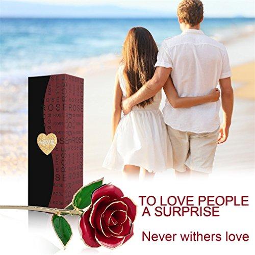 Rosa regalo fiore, u-kiss oro 24k rosa in confezione regalo con clear display stand per amante madre