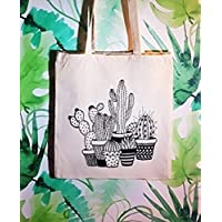Tote bag Cactus - Tote Bag style Boho - Sac Cabas 100% Coton écologique - cadeau pour femme