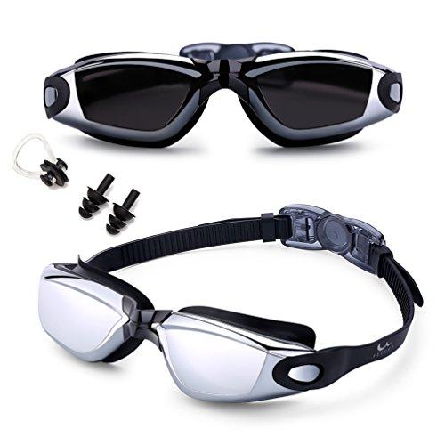 FEILAN Schwimmbrille Anti-Nebel UV-Schutz mit gratis Schutz Fall + Nase Clip + Ear Plugs - Hohe Qualität Swim Goggle für Erwachsene Kinder Herren Frauen und Kinder 10 +, schwarz