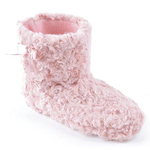 Slumberz - Zapatillas estar por casa para mujer - Forma de bota - Pelo sintético - Rosa - 40/41