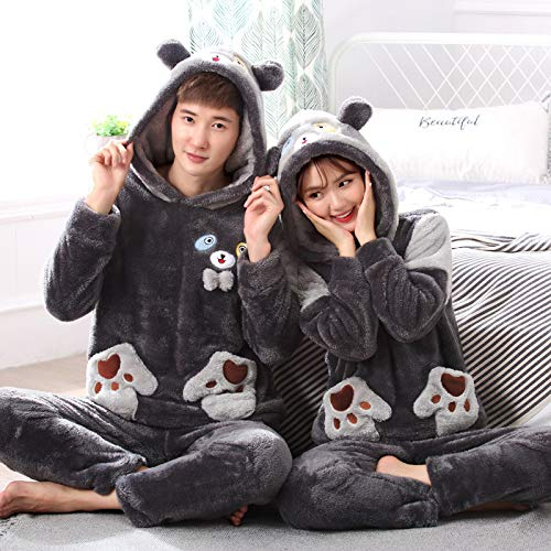 JZX Flannel Couple Autumn and Winter Ladies Long Sleeve Suit Home Service, Coral Velvet Pajamas,D,Male XXL