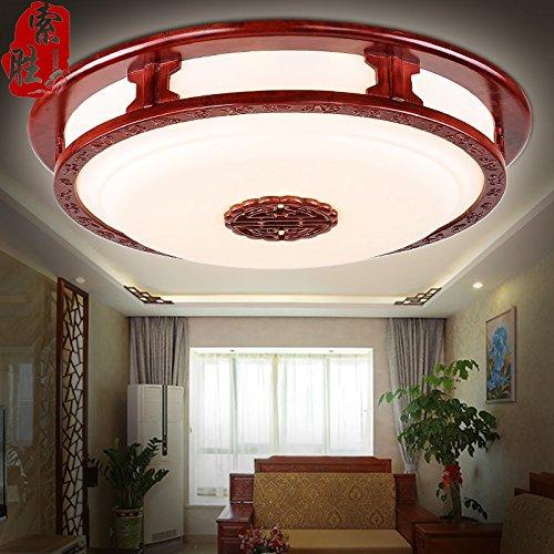SDKKY Lampada da soffitto dimmerabile cinese semplice tondo LED soggiorno solido legno rilievo camera da letto luce sulla libreria illuminazione 600mm