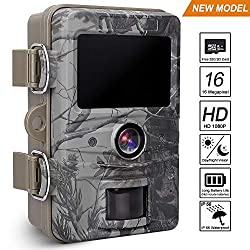 AGM Trail Camera 16MP 1080P HD 66ft Detection Range with 32G SD Card, 2019 Upgraded Wildlife Camera, Infrared Night Vision Motion Activated Camera for Hunting Outdoor Nature