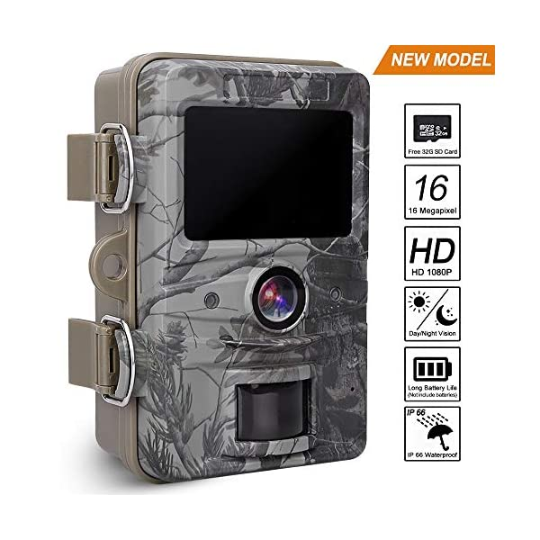AGM Trail Wildlife Camera IP66 16MP 1080P 2018 Upgraded Trail Camera Cam 0.5s Trigger Speed with Night Vision 20m and 2.4'' LCD Display for Wildlife Monitoring & Home Security&Hunting. (16MP)