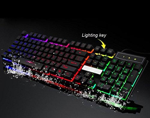 7Farben professionelle Game Tastatur, mamum bunt Crack LED Beleuchteter USB Wired PC Rainbow Gaming Tastatur Einheitsgröße schwarz - 2