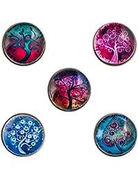 Morella Lot de 5 boutons-pression pour bijoux pour femme Motif arbres enchantés 2