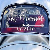 Baobaoshop Car Rear Window Decal Just Married Wedding Car Just Married Sign Decals Custom Groom & Bride Name Date Art Bumper Decor L 81x42cm
