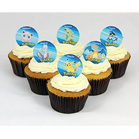 12 x Cakeshop decoración para pasteles comestibles PRECORTADAS de Pokemon