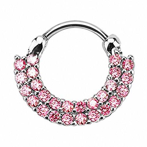 Piercingfaktor Universal Piercing Septum auch für Tragus Helix Ohr Nase Lippe Brust Intim - Schild Clicker Ring mit Kristall Silber Pink