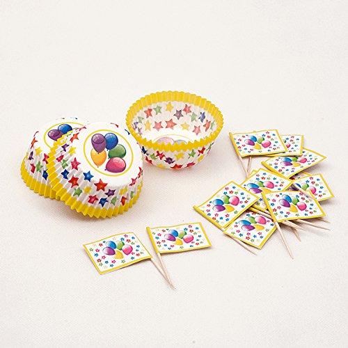 Givi Ballon Design Cup Cake Wrap und Picks groß (24Stück) (Cup Cake Kostüm)