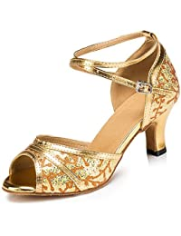 T.T-Q Frauen Ballroom Dance Schuhe Gold Silber Kunstleder Funkelnden Glitter Golden Latin Sandalen Salsa Jazz Tango Swing Praxis Indoor-Performance  Golden