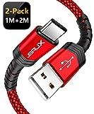 JSAUX Câble USB de Type C, (1+2M Pack de 2) Câble USB C A USB à C Chargeur Rapide...