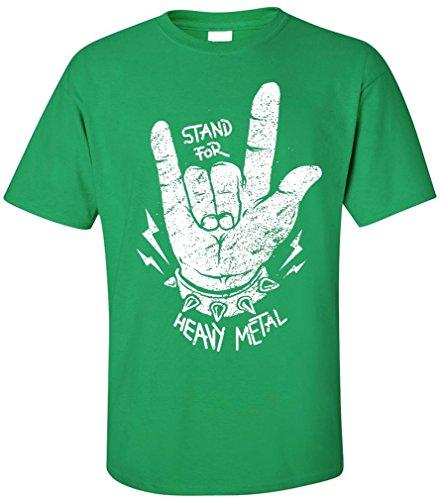 PAPAYANA - STAND-FOR-METAL - Herren T-Shirt - HEAVY METAL HARDROCK TRASH SPEED ROCK MUSIC, XXL, grün (Shirt Herren Disco Vintage)