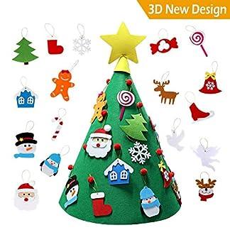 Cozywind 3D Arbol de Navidad de Fieltro, DIY Navidad Decoración Colgante Año Nuevo Regalo para Niños (17 Adornos)