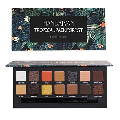 Rechoo 14 couleurs fard à paupières Matte Shimmer maquillage Contour Metallic Palette Set (TROPICAL PAINFOREST)