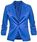 Eleganter Damenblazer Blazer Baumwolle Jäckchen Business Freizeit Party Jacke in 26 Farben 34 36 38 40 42, Farbe:Royal;Größe:XL-42