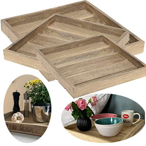 LS-LebenStil 3X Holz-Tablett Serviertablett Set Braun Deko-Tablett Bett-Tablett