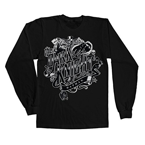 Officially Licensed Merchandise Inked Dark Knight Long Sleeve Tee (Black), XX-Large