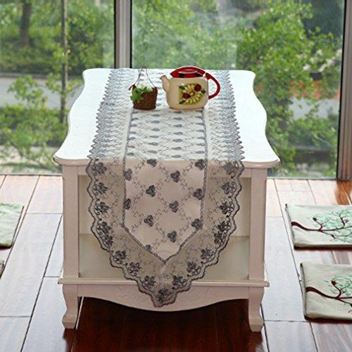 BXYR Chemin de Table Chemin de Table Jaune/Gris Dentelle Dresser Foulards brodé Vintage Wedding Decor Décoration d'intérieur (Color : Gray, Size : 40*180CM)