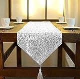 Camino de mesa ShinyBeauty de lino con lentejuelas brillantes, color plata, 30 x 182cm, con borlas, para mesas de fiesta, boda, banquete, Plateado, 30x180cm
