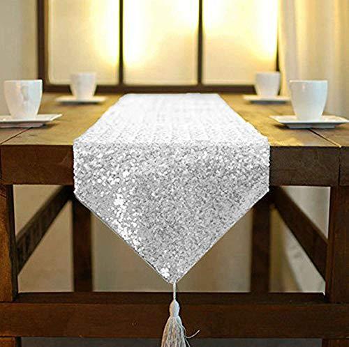 shinybeauty Shimmer Silber - Pailletten Tischläufer tassel-30 X 180 cm, Glitzer Rund Pailletten Stoff für Tisch Läufer in Party Hochzeit Bankett Tisch Leinen Layout oder Dekoration